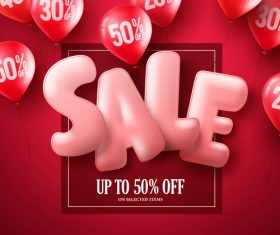 Red sale background and balloon vector 02