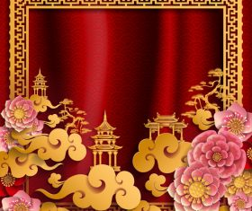 Red styles chinese background design vector 01
