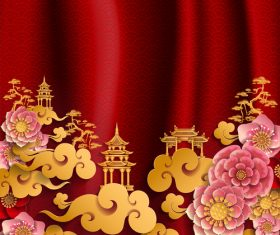 Red styles chinese background design vector 02