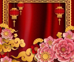 Red styles chinese background design vector 03