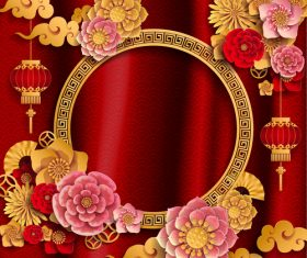 Red styles chinese background design vector 05