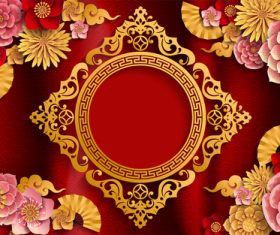 Red styles chinese background design vector 06