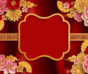 Red styles chinese background design vector 07