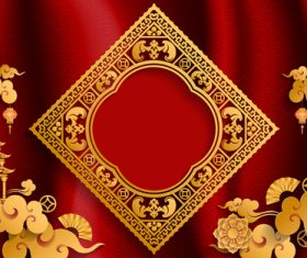 Red styles chinese background design vector 09
