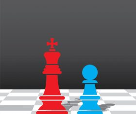 Red with blue chess vector