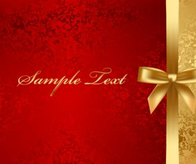 Red with gold luxury background with bows vector