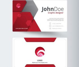 Red with white company business card vector 01