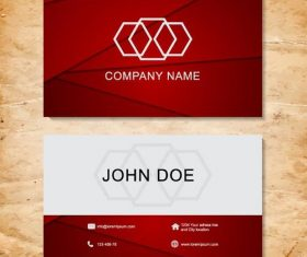 Red with white company business card vector 02