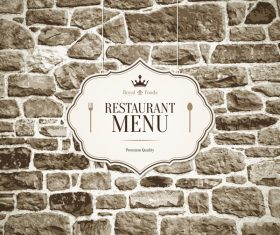 Restaurant menu cover with wall vector