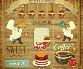 Retro food menu cover vector 4