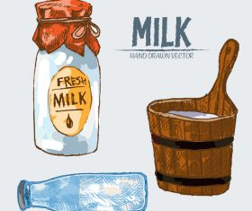 Retro milk hand drawn vector material 04