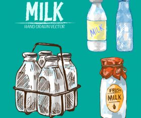 Retro milk hand drawn vector material 05