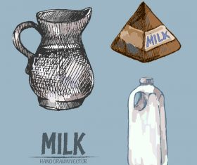 Retro milk hand drawn vector material 07