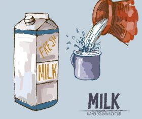 Retro milk hand drawn vector material 08