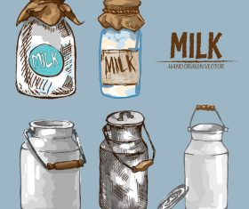 Retro milk hand drawn vector material 09