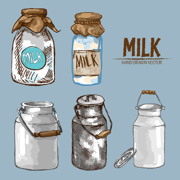 Retro milk hand drawn vector material 09