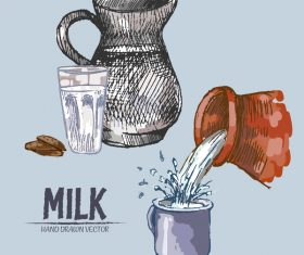 Retro milk hand drawn vector material 11
