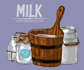 Retro milk hand drawn vector material 12