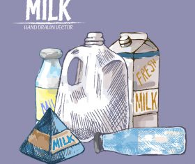 Retro milk hand drawn vector material 13