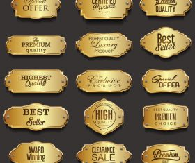Retro vintage golden frames sale collection vector illustration 01