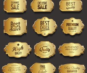 Retro vintage golden frames sale collection vector illustration 02
