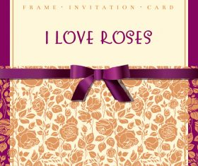 Rose vintage invitation card vector