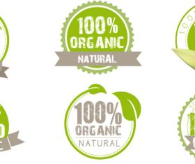 Round natural with organic labels vectors