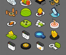 SEO – Search engine optimization – isometric outline color icons