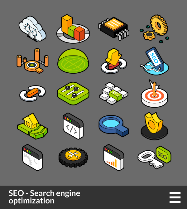 SEO   Search engine optimization   isometric outline color icons
