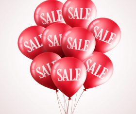Sale background with red balloon vector 01