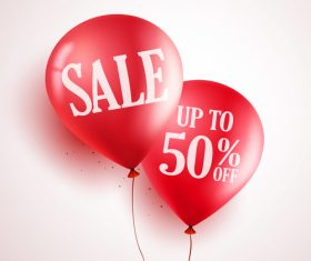 Sale background with red balloon vector 02