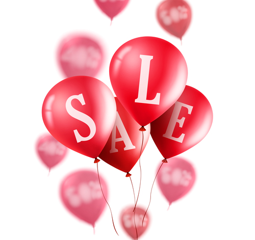 Sale background with red balloon vector 03