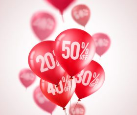 Sale background with red balloon vector 04