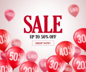 Sale discount background and red balloon vector 01