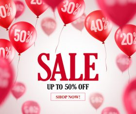 Sale discount background and red balloon vector 02