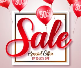 Sale discount background and red balloon vector 03