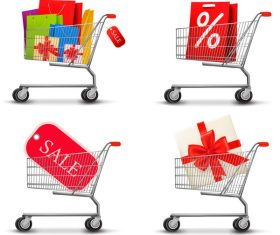 Sale elements with shopping trolley vector