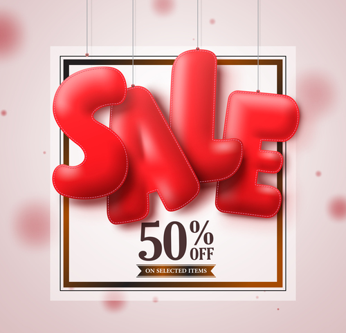 Sale frame with blurs background vector