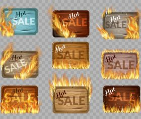 Sale wooden sign with fire flame vector