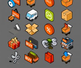 Sales and Retail – isometric outline color icons
