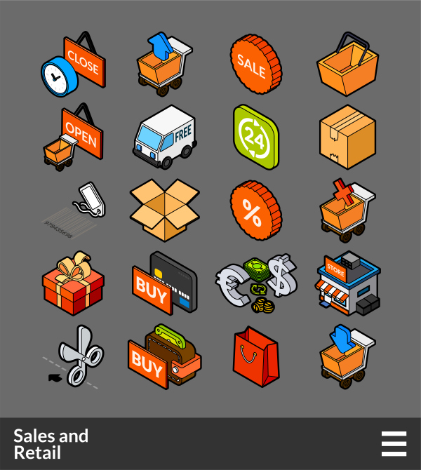 Sales and Retail   isometric outline color icons