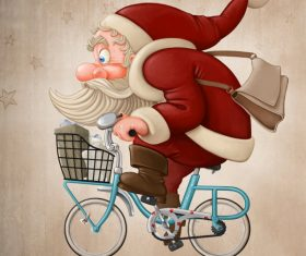 Santa Claus rides the bicycle 02