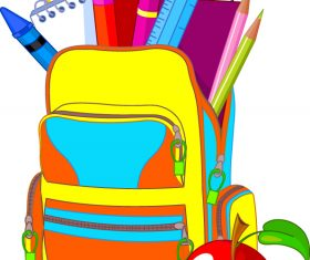 School bag illustration vector material 01