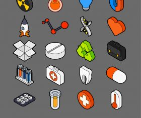 Science and Medicine – isometric outline color icons
