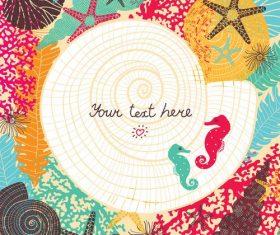 Sea styles postcard vector 01