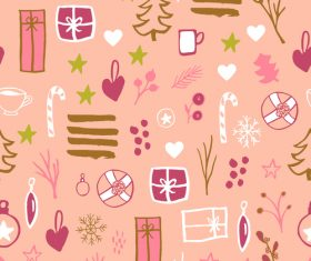 Seamless pattern christmas hand drawn vector 01