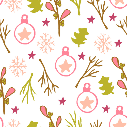 Seamless pattern christmas hand drawn vector 04