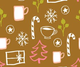 Seamless pattern christmas hand drawn vector 06