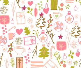 Seamless pattern christmas hand drawn vector 07