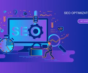 Seo potimization design concept vector